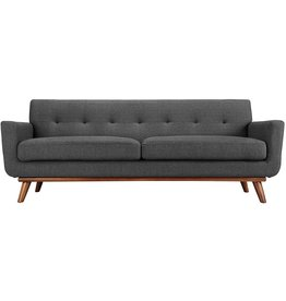 Modway Modway Engage Mid-Century Modern Upholstered Fabric Sofa in Gray