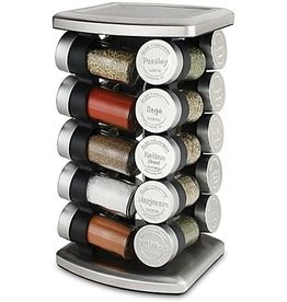 Olde Thompson 20 Jar Olde Thompson 20 Jar Embossed Revolving Spice Rack,Stainless steel   7.5 L x 7.5 W x 13 H   Holds up to 20 spices