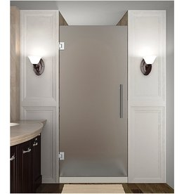 """Aston Aston SDR995F-CH-36-10 Cascadia Completely Frameless Frosted Glass Hinged Shower Door in Chrome Finish, 36"""" x 72"""""""