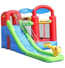 Bounceland Inflatable Bounce House or Water Slide Wet or Dry with Sun Roof, Ball Pit 30 Balls, Water Gun, Fun Bouncing Area with Basketball Hoop, Long Slide with Climbing Wall, UL Certified Blower Included