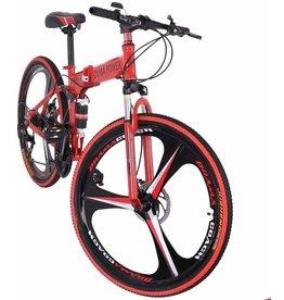 uubik uublik 26in Folding Mountain Bike Shimanos 21 Speed Bicycle Full Suspension MTB Bikes (Red)