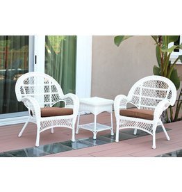 Jeco Jeco 3 Piece Santa Maria Wicker Chair Set with with Brown Cushions, White