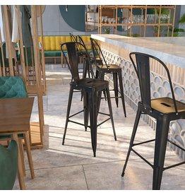 "Flash Furniture Flash Furniture Commercial Grade 30"" High Black-Antique Gold Metal Indoor-Outdoor Barstool with Removable Back"