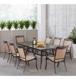 Hanover Hanover FNTDN9PCG-P Fontana 9 Piece Dining Set Outdoor Furniture, Tan