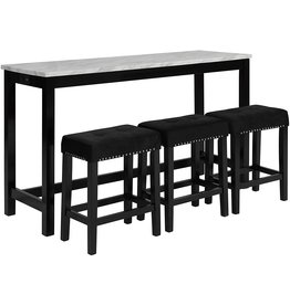 New Classic FURNITURE New Classic Furniture Celeste Faux Marble Theater Table with 3 Bar Stool Set, Black