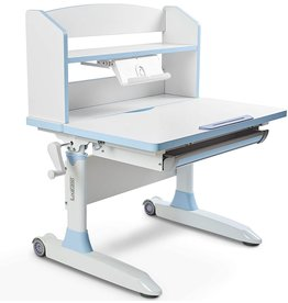 ILOGICASE Ilogicase Kids Study Desk  Height Adjustable Children Table with Book Holder Stand and Drawer Storage  Ergonomic Desktop for Writing, Drawing and Painting  Home School use (Kids Desk 501, Blue)