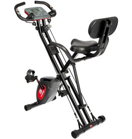 ADVENOR ADVENOR Exercise Bike Magnetic Bike Fitness Bike Cycle Folding Stationary Bike Arm Resistance Band With Arm Workout Backrest Extra-Large Seat Cushion Indoor Home Use (black&red)