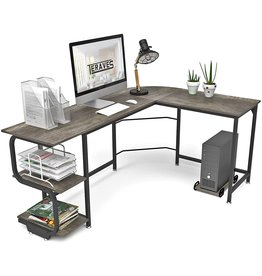Teraves Teraves Reversible L Shaped Desk with Shelves Round Corner Computer Desk Gaming Table Workstation for Home Office