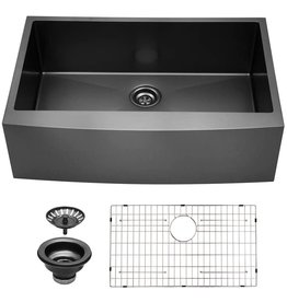 Sarlai 33 Black Farmhouse Sink - Sarlai 33 Inch Kitchen Sink Gunmetal Matte Black Stainless Steel 16 gauge Apron Front Sink Deep Single Bowl Farm Sink