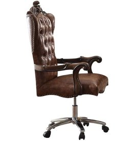 Acme Furniture ACME Versailles Light Brown Faux Leather Chair with Swivel and Lift