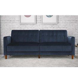 DHP DHP Pin Velvet Convertible Sleeper Sofa in Blue