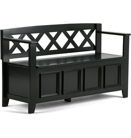 SIMPLIHOME SIMPLIHOME Amherst SOLID WOOD 48 inch Wide Entryway Storage Bench with Safety Hinge, Multifunctional Transitional inBlack