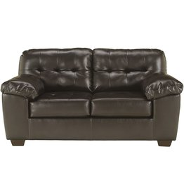 Signature Design by Ashley Signature Design by Ashley - Alliston Contemporary Faux Leather Loveseat, Chocolate
