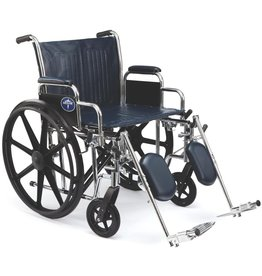 "Medline Medline Excel Extra-Wide Wheelchair, Wide Seat, Desk-Length Removable Arms, Elevating Legrests, Chrome Frame Seat: 22"" x 18"""