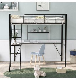 Regerel Regerel Metal Twin Loft Bed with Desk and Shelf, Twin Size High Loft Bed with 2 Ladder and Guard Rail for Teens ,Space Saving Loft Bed Frame(White)