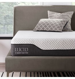 LUCID LUCID 10 Inch Twin Hybrid Mattress - Bamboo Charcoal and Aloe Vera Infused Memory Foam - Moisture Wicking - Odor Reducing - CertiPUR-US Certified