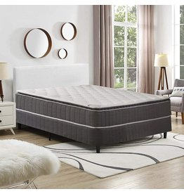 """Spring Coil Spring Coil 9-Inch Foam Encased Pillowtop Pocketed Coil Innerspring Mattress And 4"""" Wood Split Low Profile Box Spring/Foundation Set, Full, Grey"""