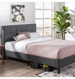 Zinus ZINUS Lottie Upholstered Platform Bed Frame / Mattress Foundation / Wood Slat Support / No Box Spring Needed / Easy Assembly, Grey, Queen