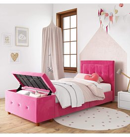 DHP DHP Davina Upholstered Bed with Storage Chest for Kids, Twin Size, Pink Velvet