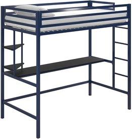 Novogratz Novogratz 4370629N Maxwell Metal Twin Loft Desk & Shelves, Blue/Black Bunk Beds, Navy