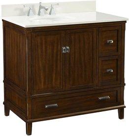 """Dorel Living Dorel Living Otum 36"""" Bathroom Vanity, Dark Walnut"""