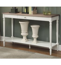 Convenience Concepts Convenience Concepts French Country Console Table with Drawer and Shelf, Driftwood / White