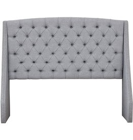 Madison Park Madison Park Harper Upholstered Nail Head Trim Wingback Button Tufted Headboard Modern Contemporary Metal Legs Padded Bedroom Décor Accent, King Grey