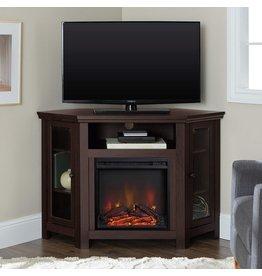 Walker Edison Walker Edison Alcott Classic Glass Door Fireplace Corner TV Stand for TVs up to 55 Inches, 48 Inch, Espresso