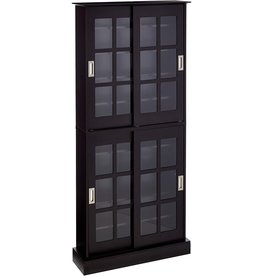 Atlantic Atlantic Windowpane Multimedia-Storage Cabinet - Tempered Glass Pane Style, Sliding Doors, Stores 720 CDs, 288 DVDs, 144 CDs or 348 Blu-Rays, Adjustable Shelves, 71.5 X 32 X 9.5 inches PN in Espresso