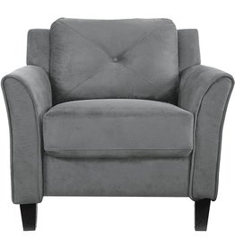 """LifeStyle Solutions LifeStyle Solutions Collection Grayson Micro-fabric Chair, 35.43""""x 32""""x 32.68"""", Dark Gray"""