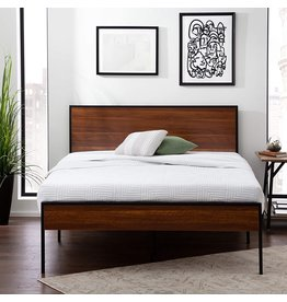 Edenbrook Edenbrook Carson Metal Platform Bed Framewith Wood Headboard and Footboard-Box Spring Optional, King, Brown Oak
