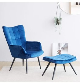 Livinia Livinia Velvet Fabric Mark Relax Armchair Accent Chair with footrest, Lazy Chair Modern Lounge Leisure Chair Set with Stool Ottoman for Home Bedroom Living Room Balcony Lounge