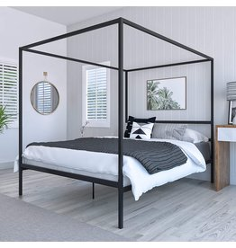 DG Casa DG Casa Charles 4 Corner Post Canopy Platform Bed Frame and Full Wooden Slats, Box Spring Not Required-Queen Size in Black Metal