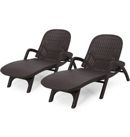 Christopher Knight Home Christopher Knight Home Blanche Outdoor Faux Wicker Chaise Lounges (Set of 2), Dark Brown