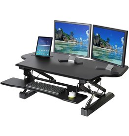 """Seville Classics Seville Classics Airlift Height Adjustable Sit Desk Converter Workstation Standing Ergonomic Dual Monitor Riser with Keyboard Tray, Extra-Wide with Tablet Holder 47"""", Black"""