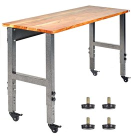 Fedmax Fedmax Work Bench - 61-inch x 28 to 44-inch Acacia Wood Garage Work Table with Caster Wheels and Adjustable Height Legs - Tool Benches for Home Improvement