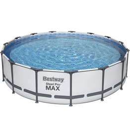 """Bestway Bestway 56687E Pro MAX Above Ground, 15ft x 42in  Steel Frame Round Pool Set  Includes All You Need, 15' x 42"""", Grey"""