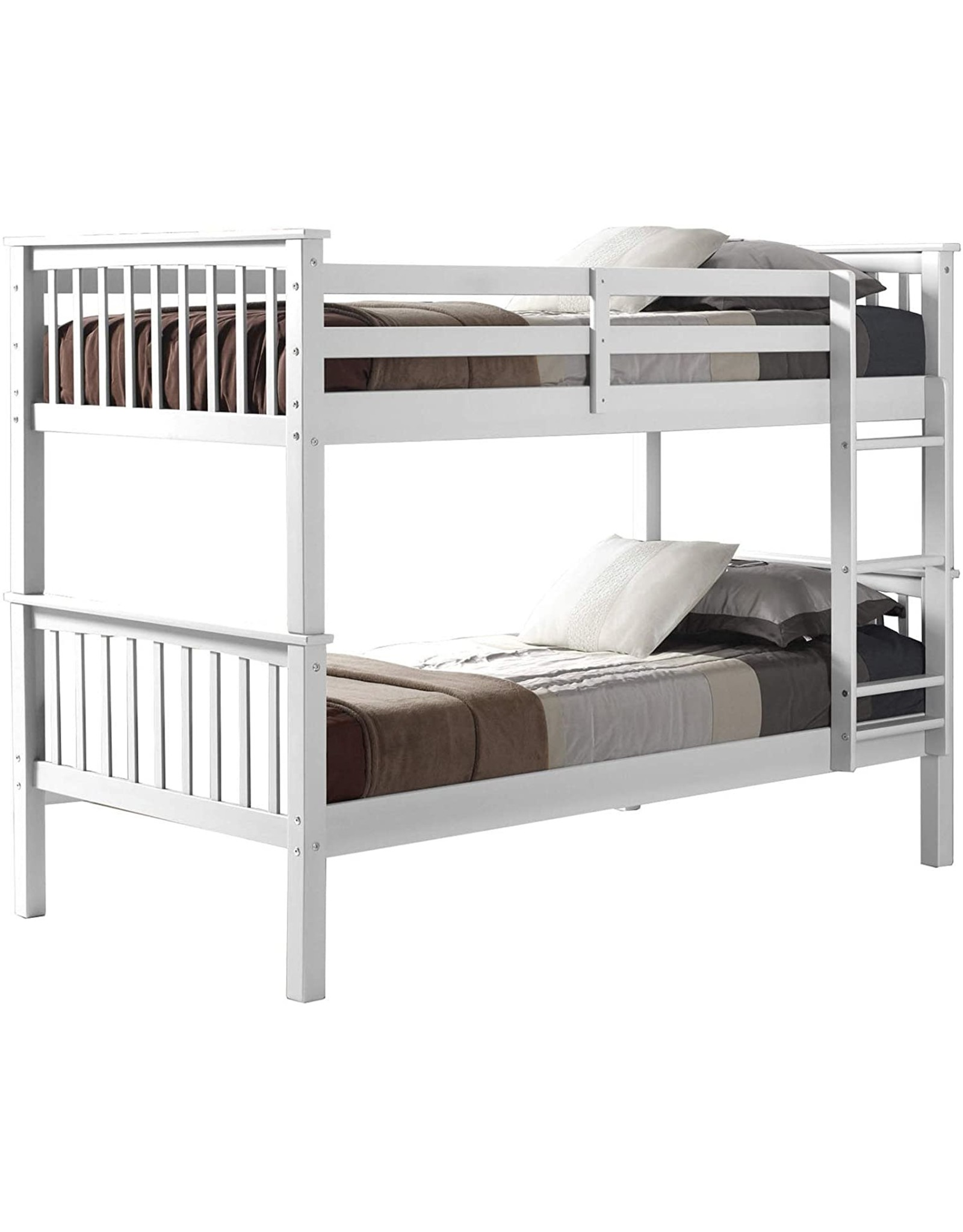 Walker Edison Walker Edison Resende Mission Style Solid Wood Twin over Twin Bunk Bed, Twin Over Twin, White