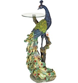 Design Toscano Design Toscano Peacock's Perch Sculptural Glass-Topped Pedestal Table