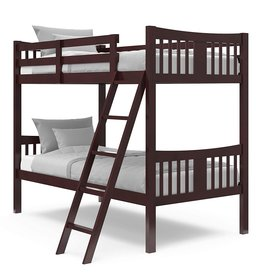 Stork Craft Storkcraft Caribou Solid Hardwood Twin Bunk Bed with Ladder and Safety Rail, Espresso