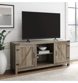 Walker Edison Walker Edison Georgetown Modern Farmhouse Double Barn Door TV Stand for TVs up to 65 Inches, 58 Inch, Grey