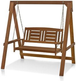 Furinno Furinno FG16409 Tioman Hardwood Patio Furniture Porch Swing with Stand in Teak Oil, 2-Seater with Frame, Natural