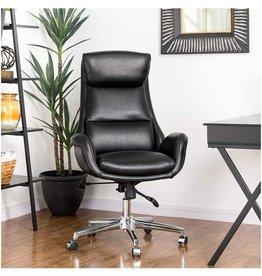 glitzhome Glitzhome Mid-Century Modern Air Leatherette Adjustable Swivel High Back Office Chair, Black
