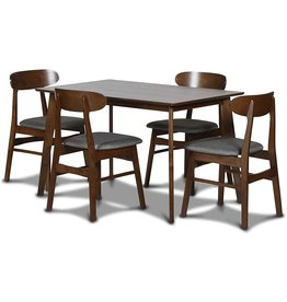 New Classic FURNITURE New Classic Furniture Morocco Dining Room Table Sets, 5-Piece, Dark Gray