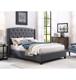 Roundhill Furniture Roundhill Furniture Nantarre Fabric Tufted Wingback Upholstered Bed with Nailhead Trim, King, Gray