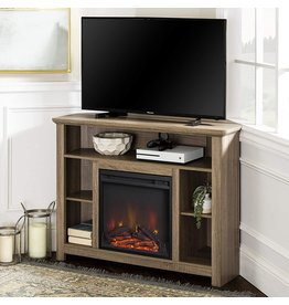 Walker Edison Walker Edison Woodcroft Classic Fireplace Corner Stand for TVs up to 50 Inches, 44 Inch, Driftwood