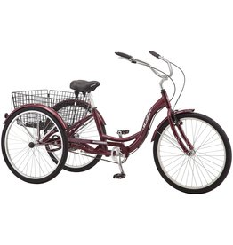 Schwinn Schwinn Meridian Adult Tricycle with 26-Inch Wheels in Maroon, with Low Step-Through Aluminum Frame, Front and Rear Fenders, Adjustable Handlebars, Large Cruiser Seat, and Rear Folding Basket