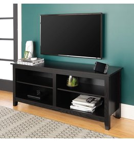 Walker Edison Walker Edison Wren Classic 4 Cubby TV Stand for TVs up to 65 Inches, 58 Inch, Black