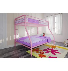 DHP DHP Twin-Over-Full Bunk Bed with Metal Frame and Ladder, Space-Saving Design, Pink