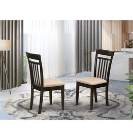 East West Furniture East West Furniture CAC-CAP-C Amazing Kitchen Chairs - Linen Fabric Seat and Cappuccino Hardwood Frame Dining Chair Set of 2